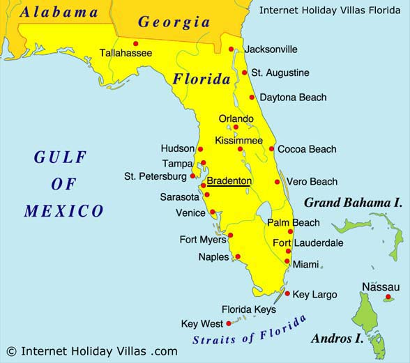 Map Of Florida Bradenton.Internet Holiday Villas Map Of Bradenton West Florida